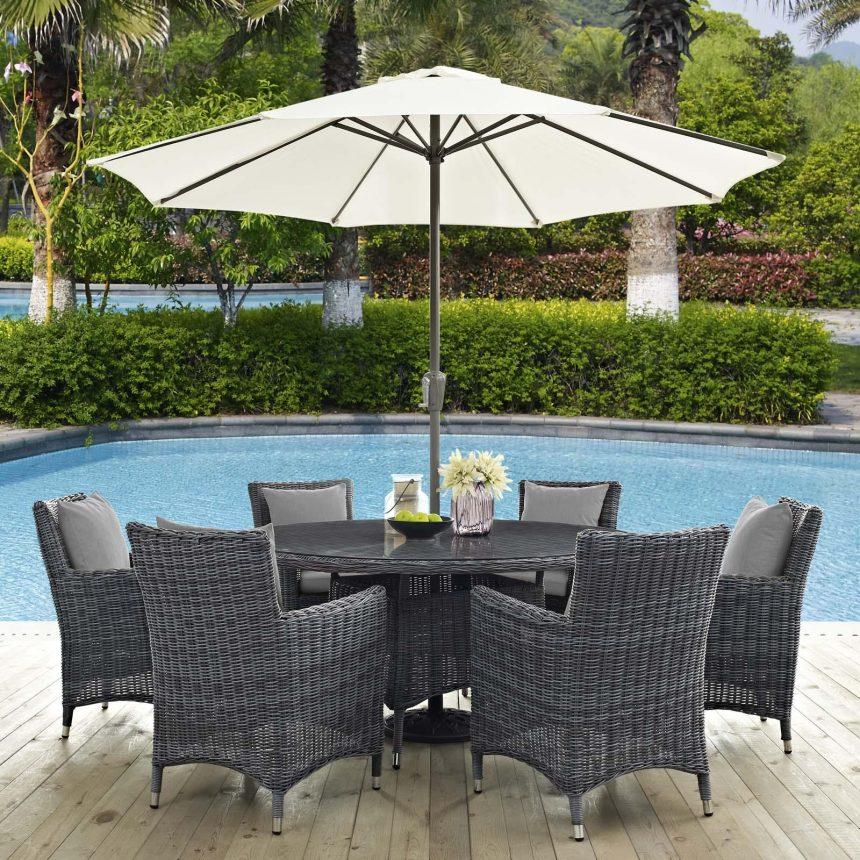 8 Piece Outdoor Patio Sunbrella® Dining Set in Canvas Gray EEI-2329