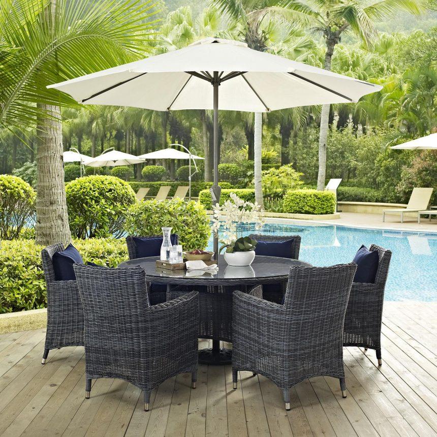 8 Piece Outdoor Patio Sunbrella® Dining Set in Canvas Navy EEI-2329