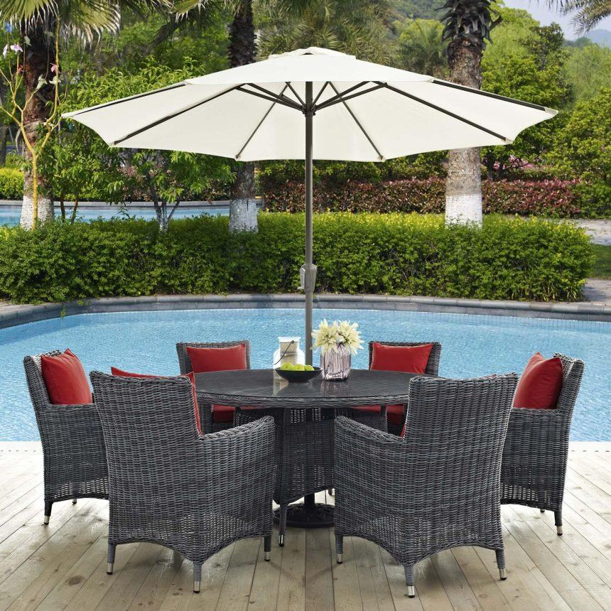 8 Piece Outdoor Patio Sunbrella® Dining Set in Canvas Red EEI-2329