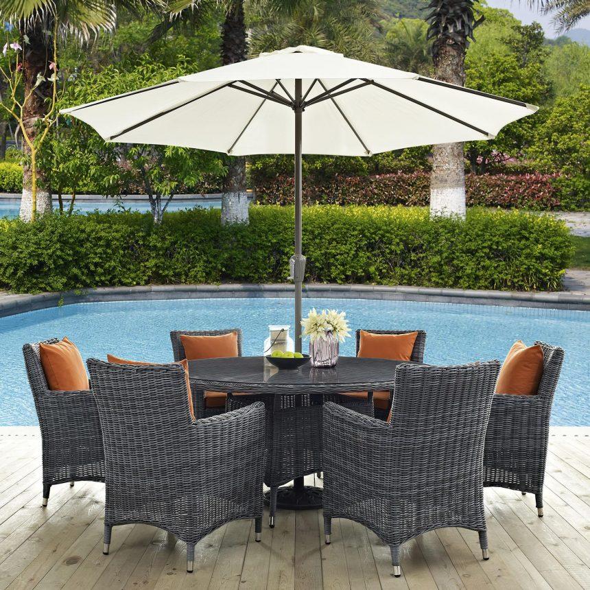 8 Piece Outdoor Patio Sunbrella® Dining Set in Canvas Tuscan EEI-2329