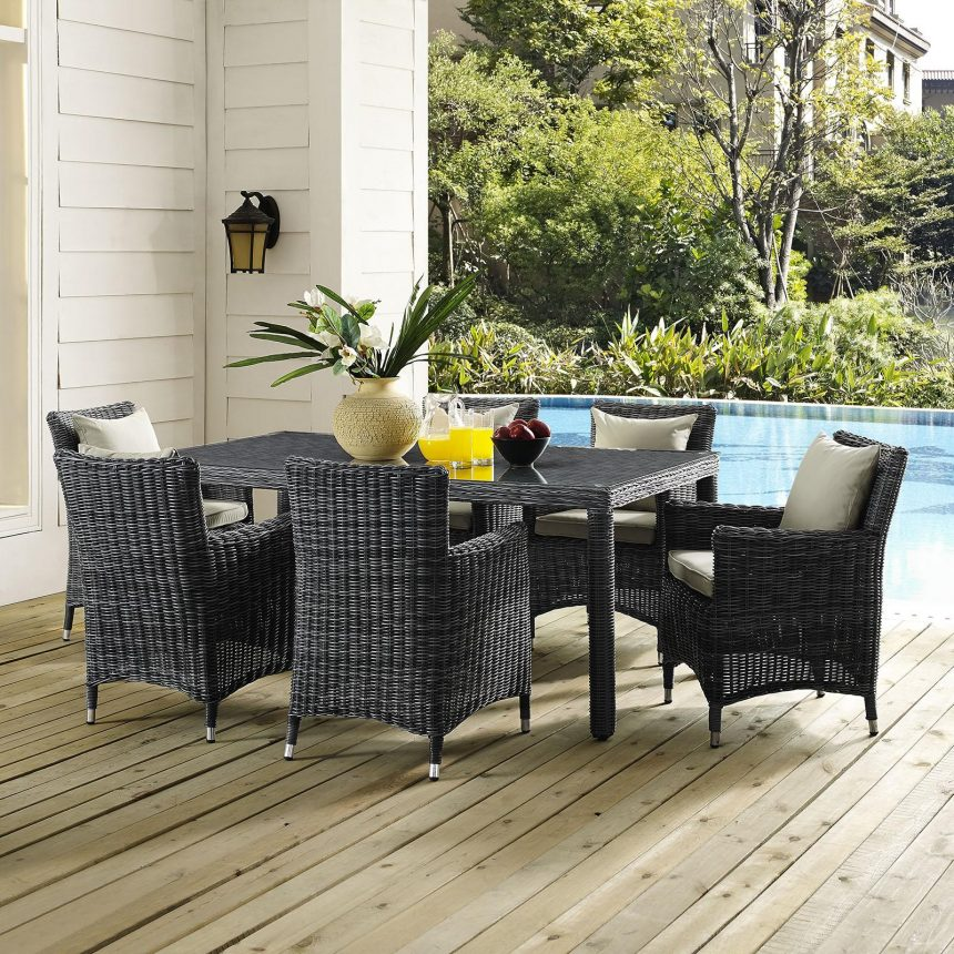 7 Piece Outdoor Patio Sunbrella® Dining Set in Antique Canvas Beige EEI-2330