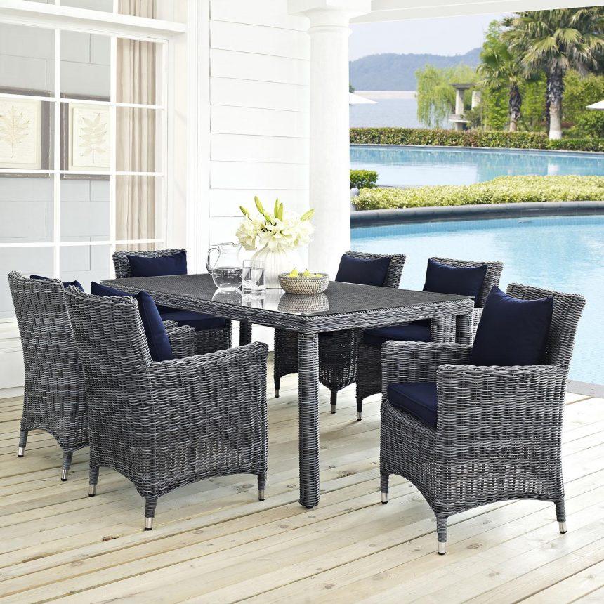 7 Piece Outdoor Patio Sunbrella® Dining Set in Canvas Navy EEI-2330