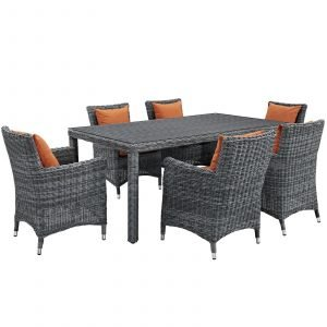 7 Piece Outdoor Patio Sunbrella® Dining Set with Canvas Tuscan cushions EEI-2330