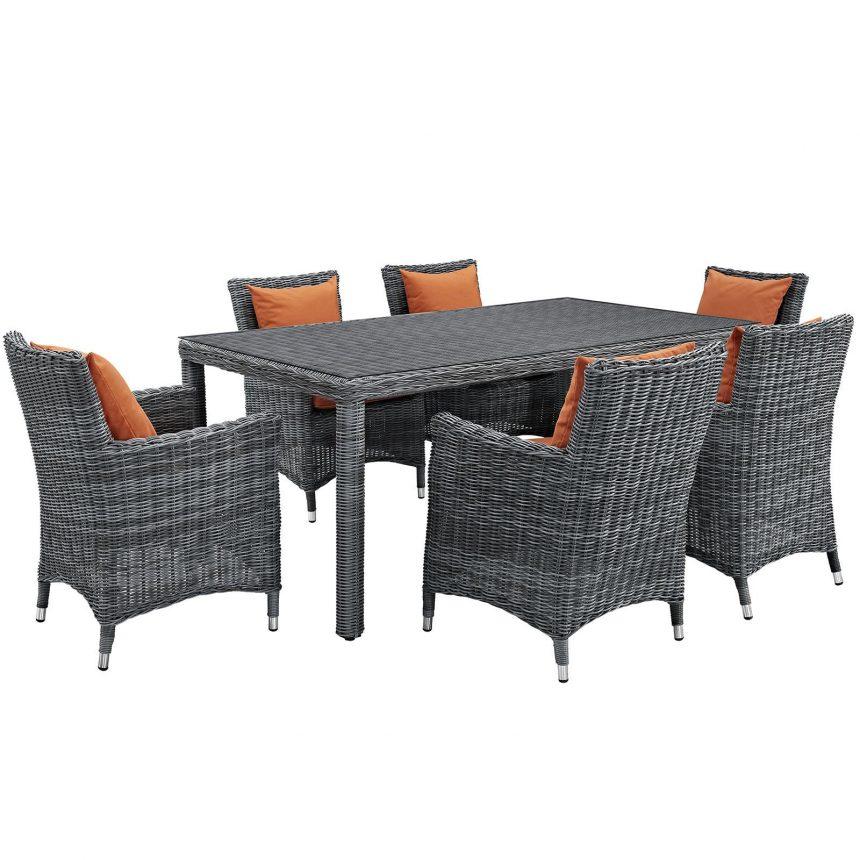 7 Piece Outdoor Patio Sunbrella® Dining Set with Canvas Tuscan cushions EEI-2330