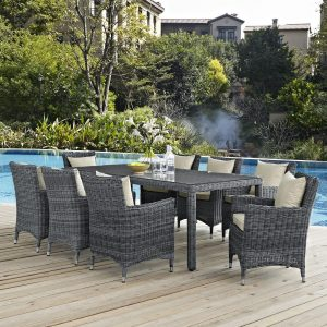 9 Piece Outdoor Patio Sunbrella® Dining Set with Antique Canvas Beige EEI-2331