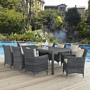 9 Piece Outdoor Patio Sunbrella® Dining Set with Antique Canvas Beige EEI-2331