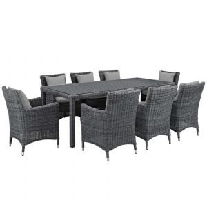 9 Piece Outdoor Patio Sunbrella® Dining Set in Canvas Gray EEI-2331