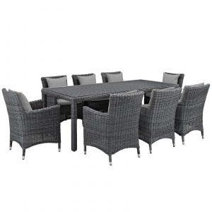 9 Piece Outdoor Patio Sunbrella® Dining Set in Canvas Gray EEI-2331