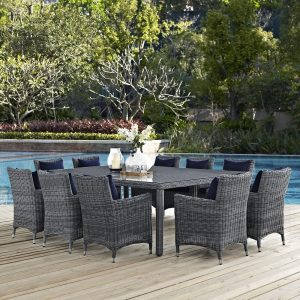 11 Piece Outdoor Patio Sunbrella® Dining Set in Canvas Navy EEI-2333