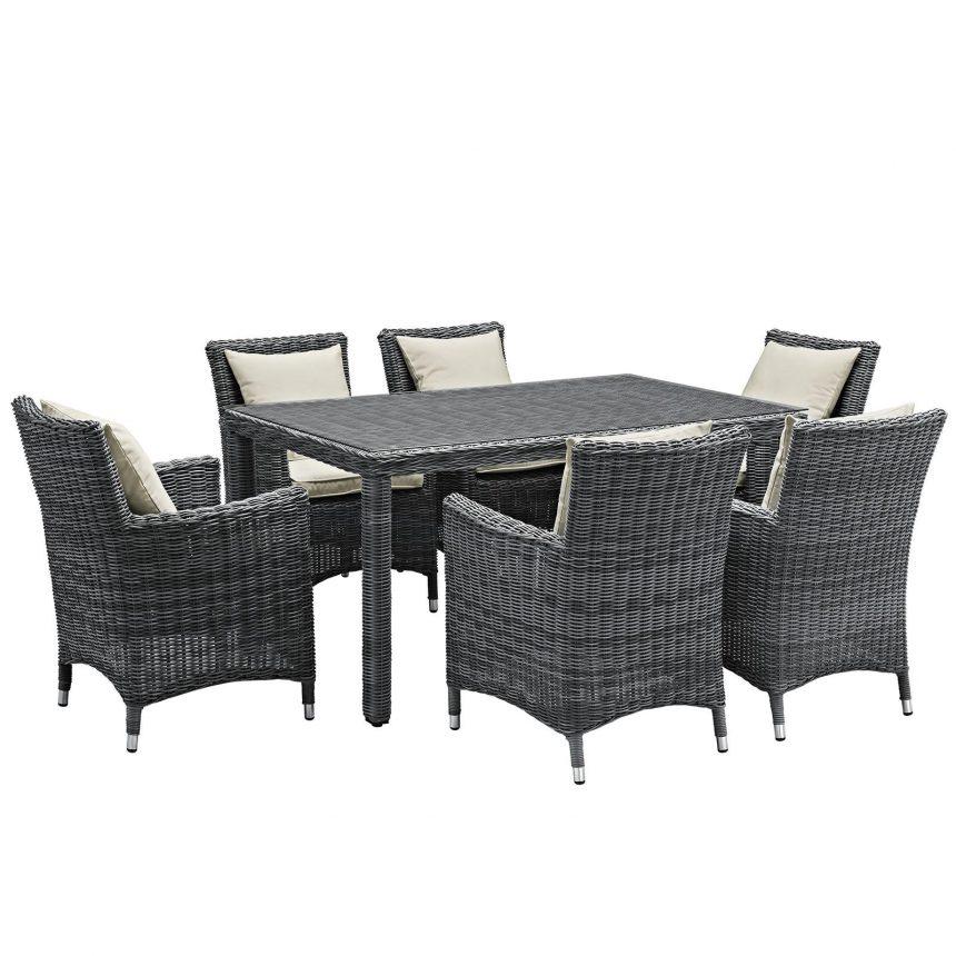 7 Piece Outdoor Patio Sunbrella® Dining Set in Antique Canvas Beige EEI-2334