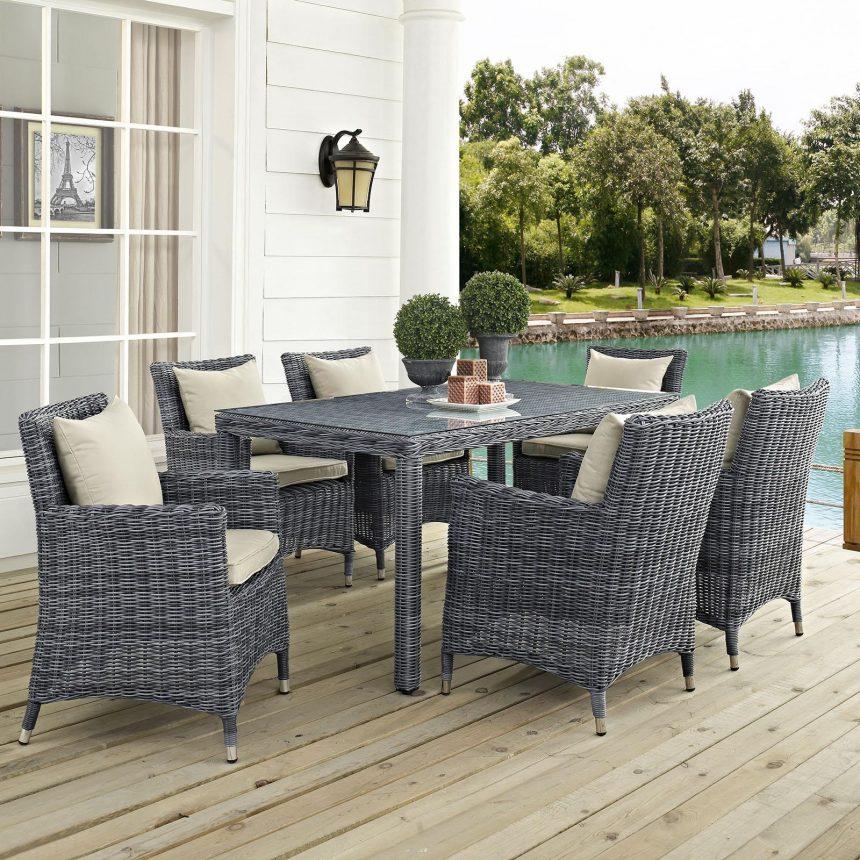 7 Piece Outdoor Patio Sunbrella® Dining Set in Antique Canvas Beige Cushions EEI-2334