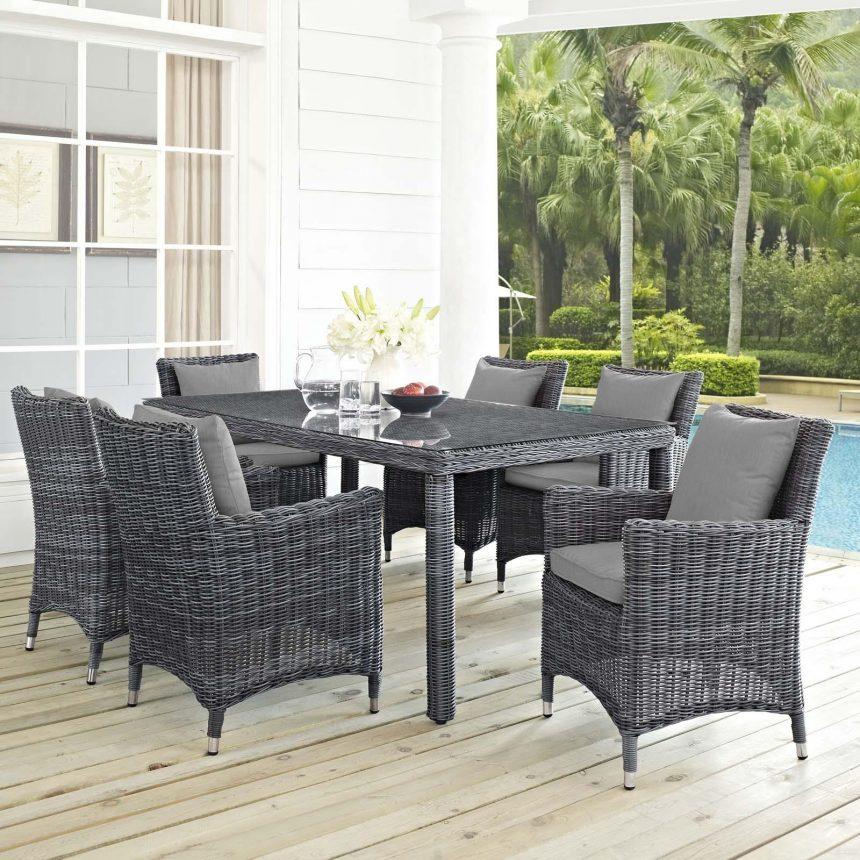 7 Piece Outdoor Patio Sunbrella® Dining Set in Canvas Gray Cushions EEI-2334