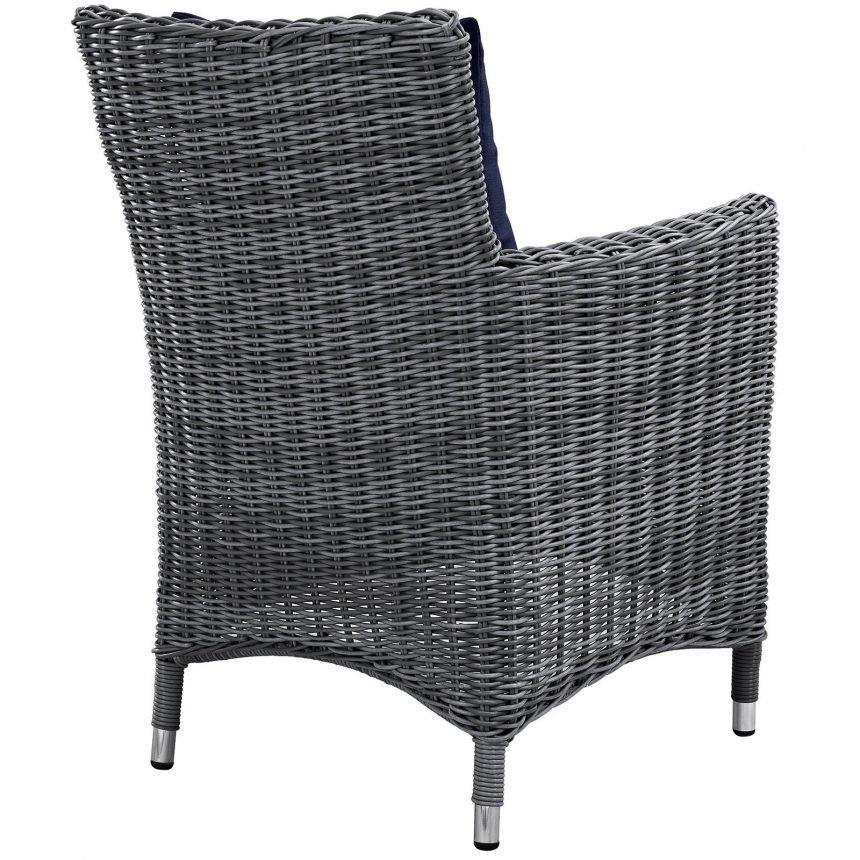 7 Piece Outdoor Patio Sunbrella® Dining Set Armchair Back EEI-2334