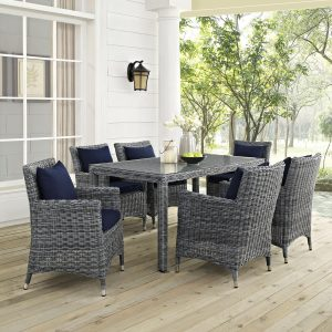 7 Piece Outdoor Patio Sunbrella® Dining Set in Canvas Navy Cushions EEI-2334