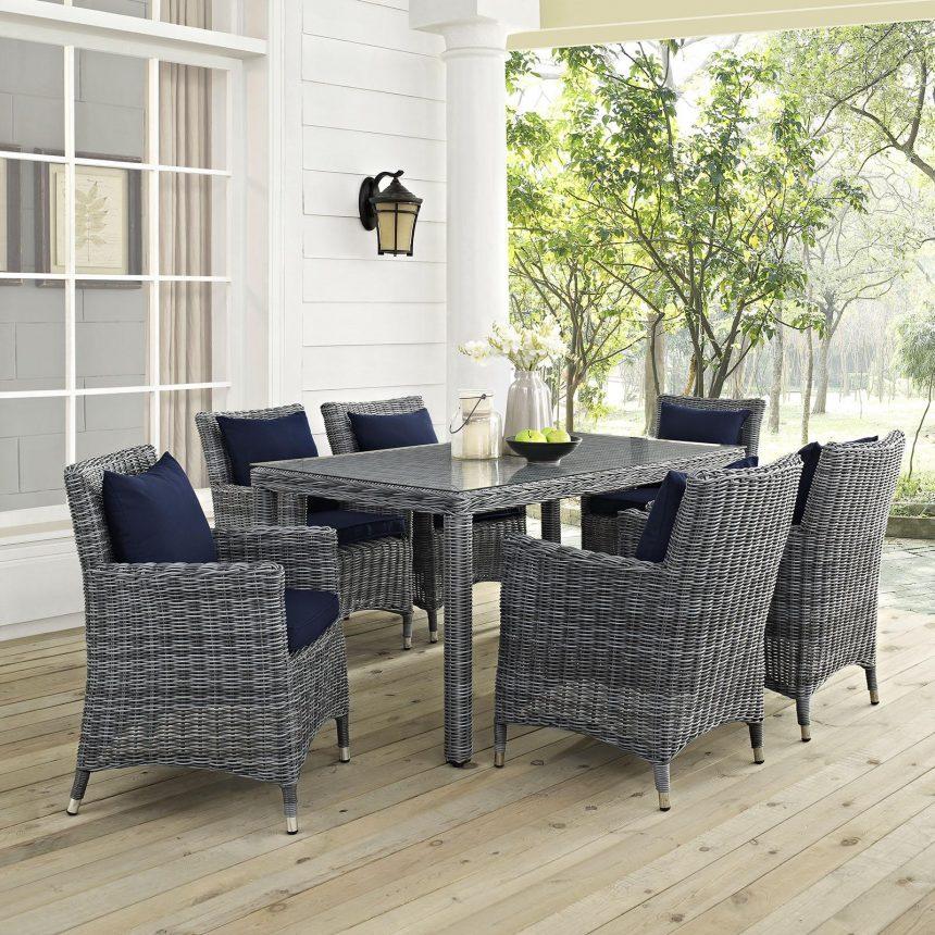 7 Piece Outdoor Patio Sunbrella® Dining Set in Canvas Navy Cushions EEI-2334