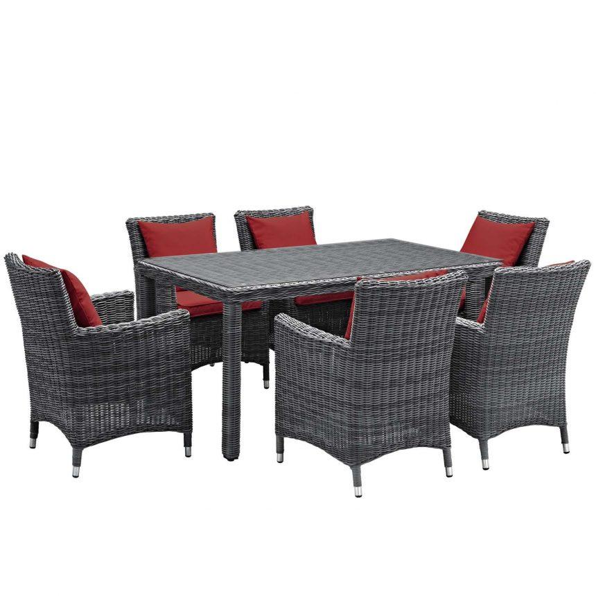 7 Piece Outdoor Patio Sunbrella® Dining Set in Canvas Red EEI-2334