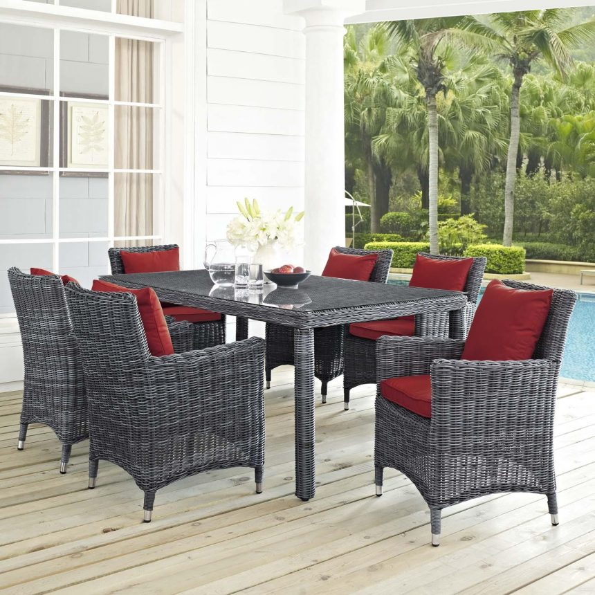 7 Piece Outdoor Patio Sunbrella® Dining Set in Canvas Red Cushions EEI-2334