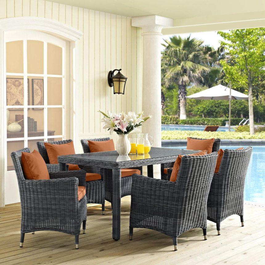 7 Piece Outdoor Patio Sunbrella® Dining Set in Canvas Tuscan EEI-2334