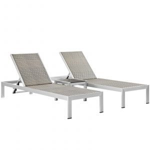 3 Piece Outdoor Patio Aluminum Set in Silver Gray EEI-2476