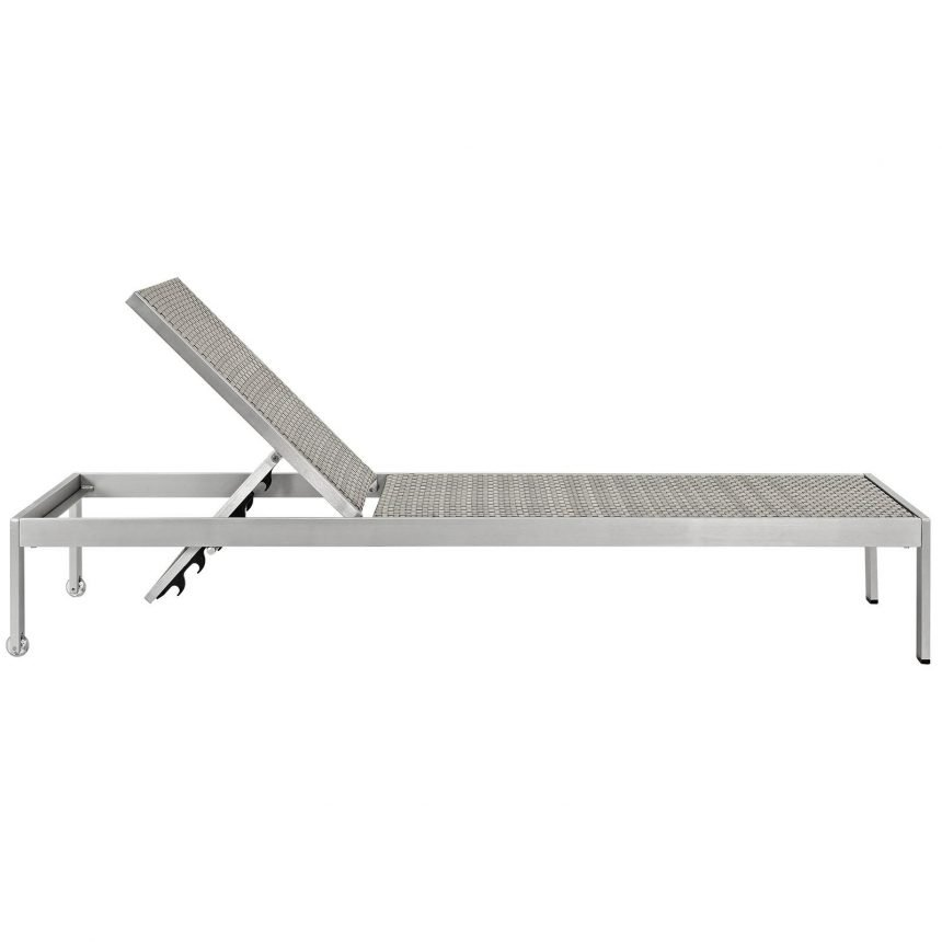 3 Piece Outdoor Patio Aluminum Chaise Side view EEI-2476