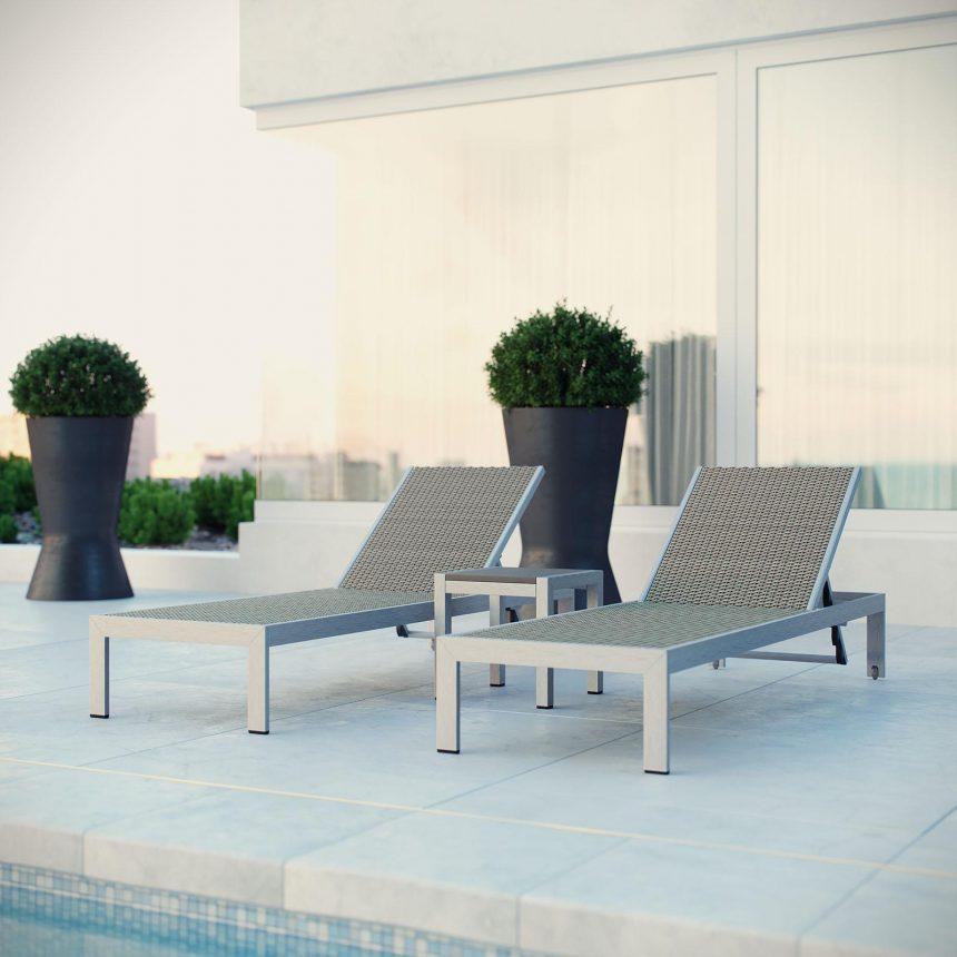 3 Piece Outdoor Patio Aluminum Chaise Set EEI-2476