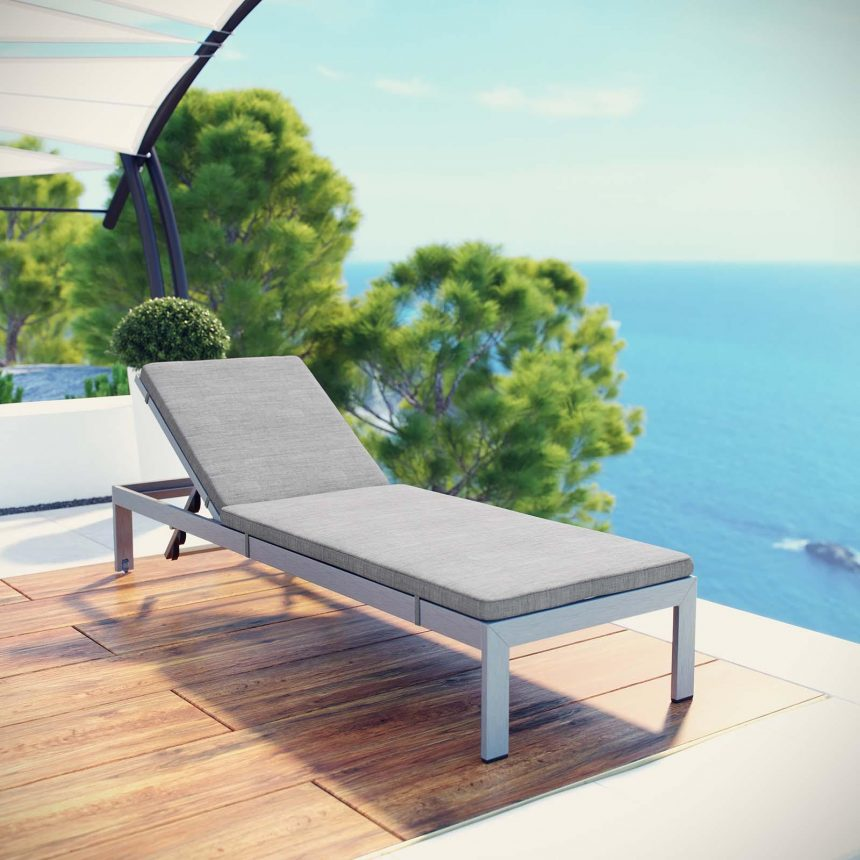 Outdoor Patio Aluminum Chaise with Cushions EEI-2660