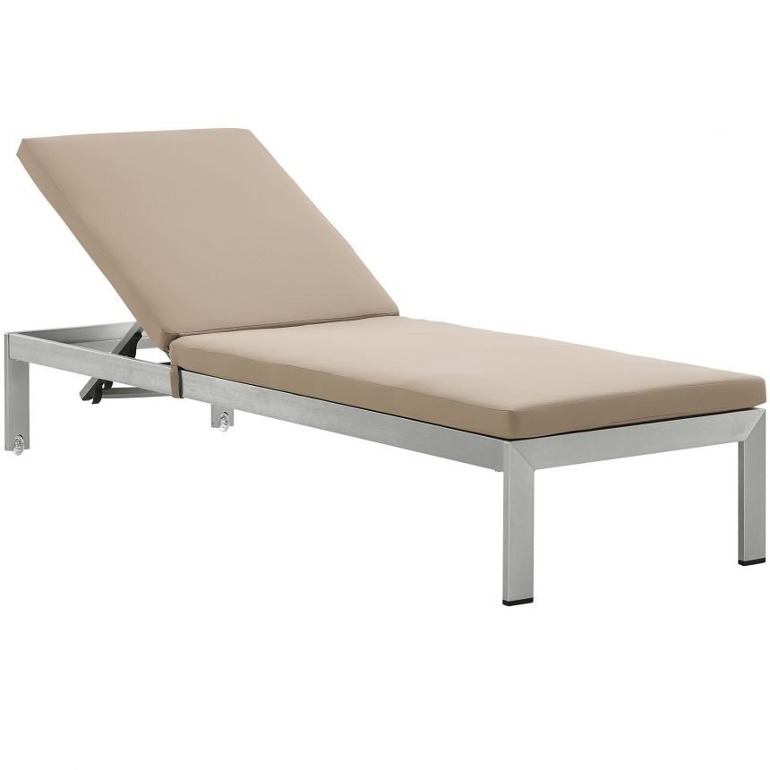 Outdoor Patio Aluminum Chaise with Cushions in Silver Mocha EEI-2660