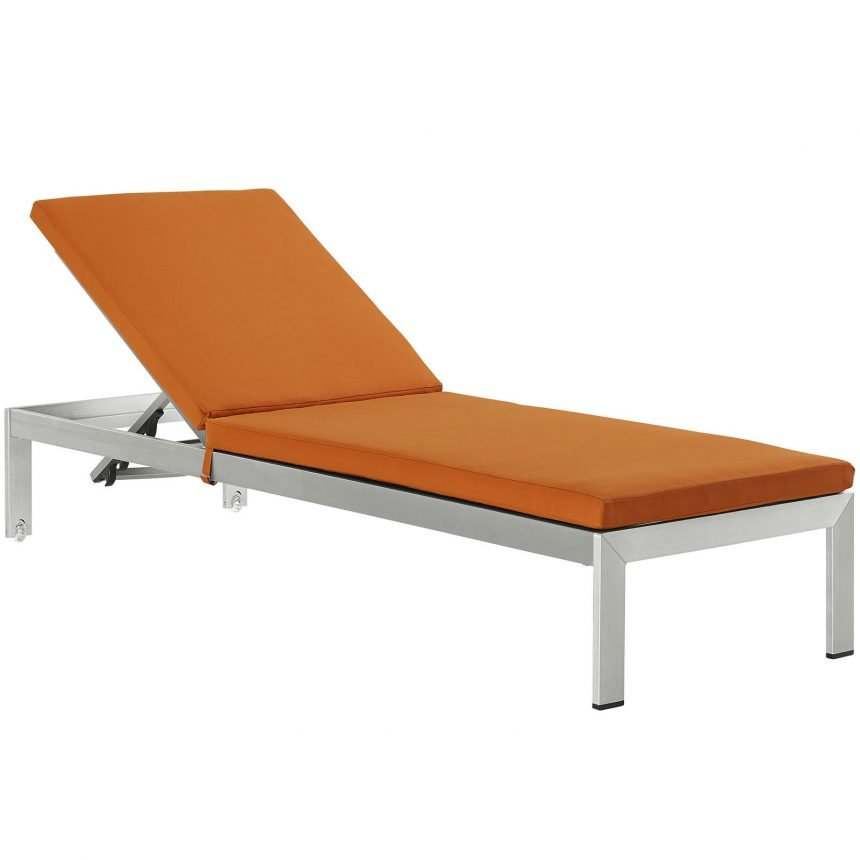 Outdoor Patio Aluminum Chaise with Cushions in Silver Orange EEI-2660
