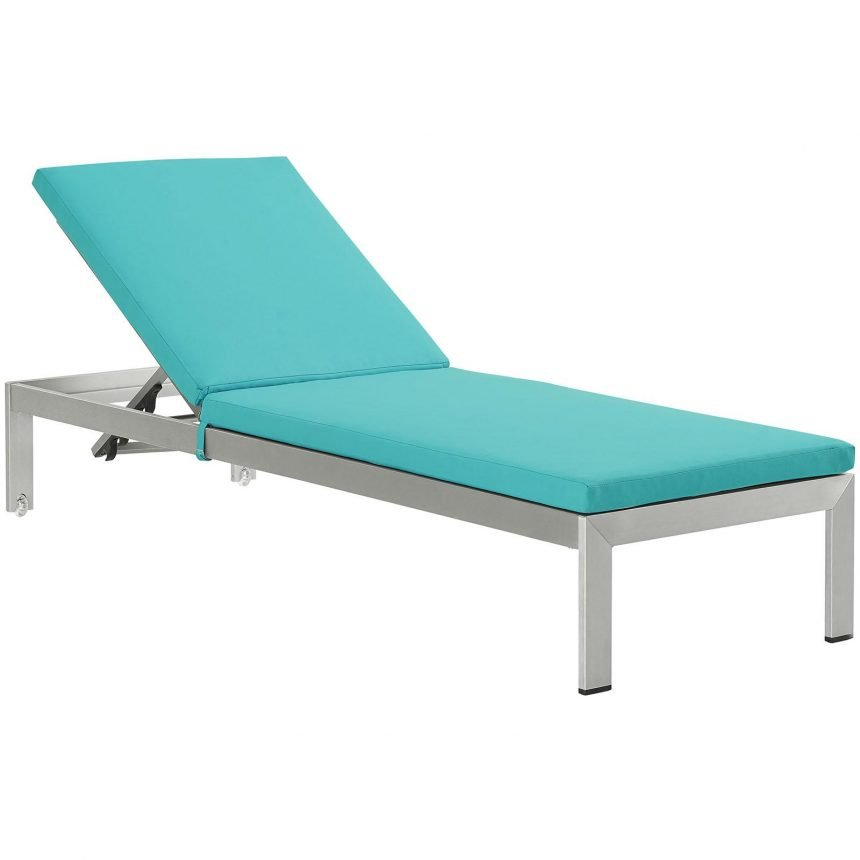 Outdoor Patio Aluminum Chaise with Cushions in Silver Turquoise EEI-2660