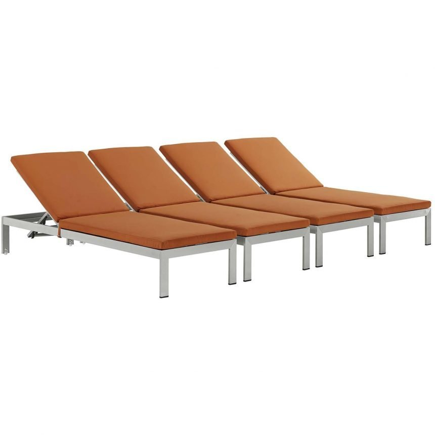 Chaise with Cushions Outdoor Patio Aluminum Set of 4 in Silver Orange EEI-2738