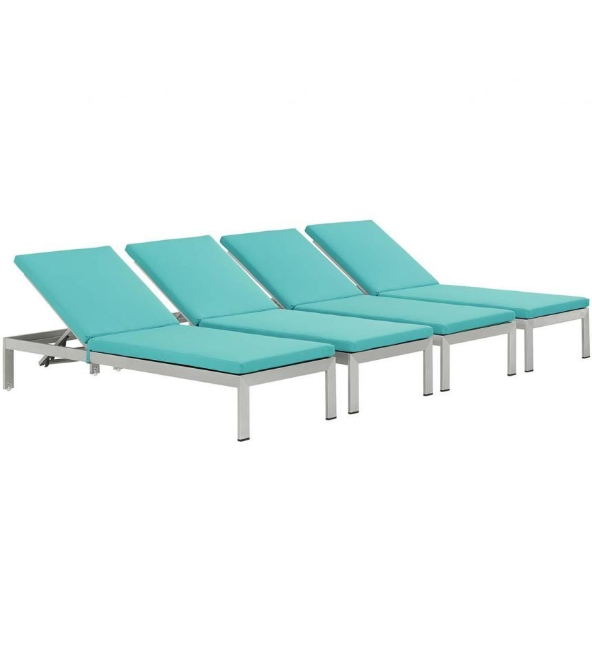 Chaise with Cushions Outdoor Patio Aluminum Set of 4 in Silver Turquoise EEI-2738