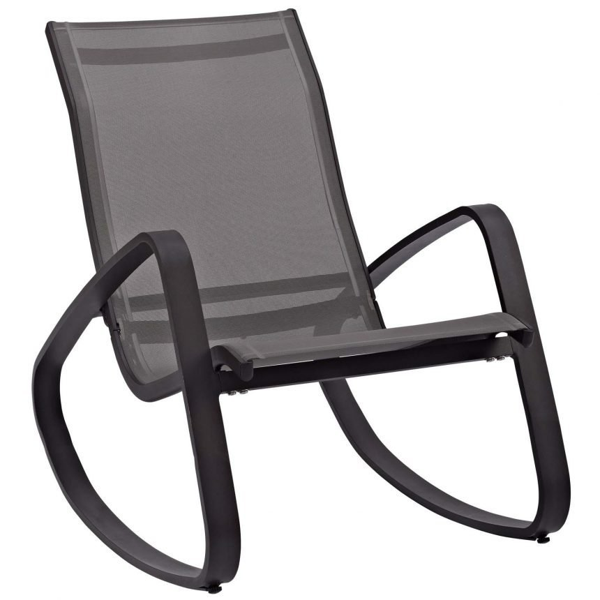 Rocking Outdoor Patio Mesh Sling Lounge Chair in Black Black EEI-3027