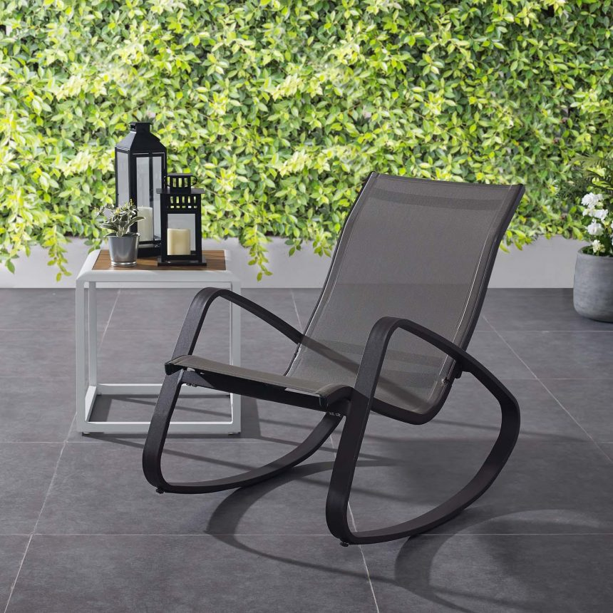Rocking Outdoor Patio Mesh Sling Lounge Chair with Black Black EEI-3027