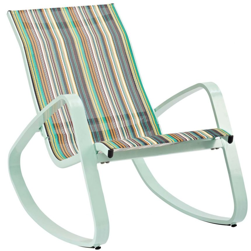 Rocking Outdoor Patio Mesh Sling Lounge Chair in Green Stripe EEI-3027