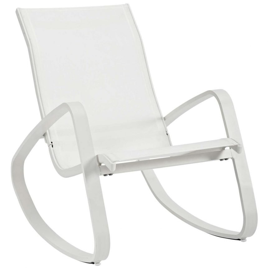 Rocking Outdoor Patio Mesh Sling Lounge Chair in White White EEI-3027