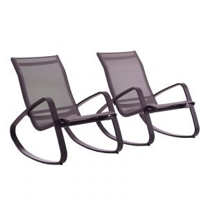 Rocking Lounge Chair Outdoor Patio Mesh Sling Set of 2 in Black Black EEI-3180
