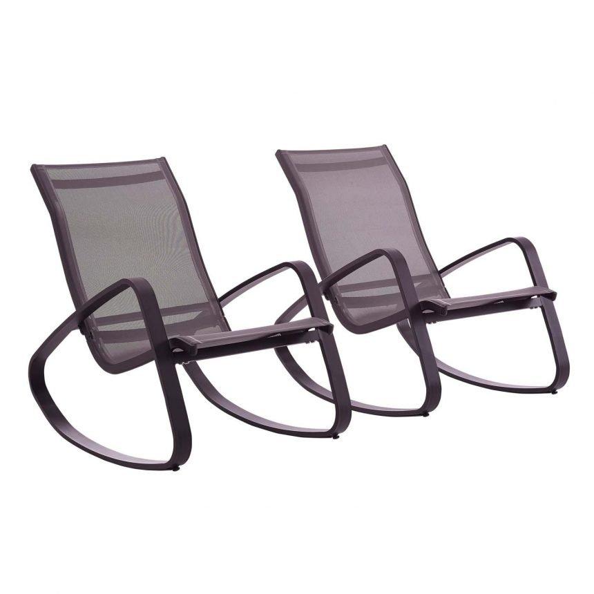 Rocking Lounge Chair Outdoor Patio Mesh Sling Set of 2 in Black Black EEI-3180