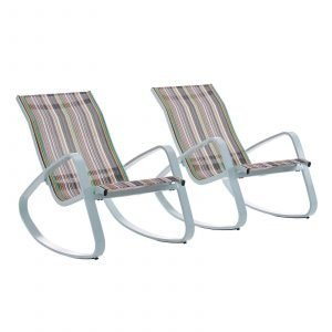 Rocking Lounge Chair Outdoor Patio Mesh Sling Set of 2 in Green Stripe EEI-3180