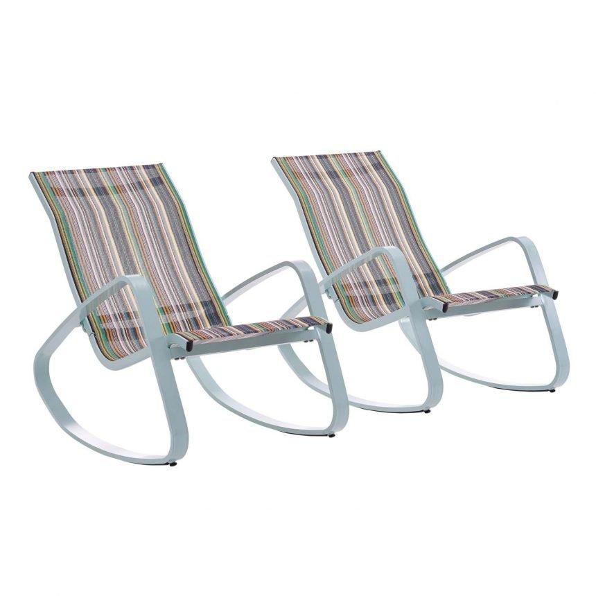 Rocking Lounge Chair Outdoor Patio Mesh Sling Set of 2 in Green Stripe EEI-3180