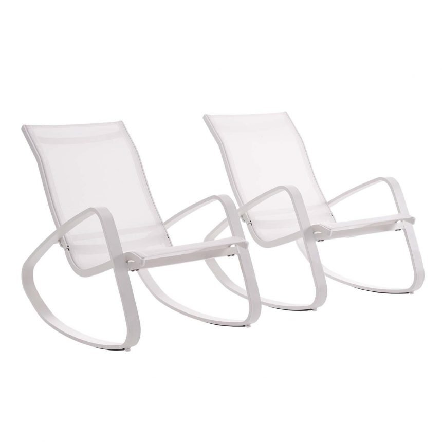 Rocking Lounge Chair Outdoor Patio Mesh Sling Set of 2 in White White EEI-3180