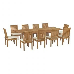 11 Piece Outdoor Patio Teak Outdoor Dining Set EEI-3282