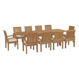 11 Piece Outdoor Patio Teak Outdoor Dining Set in Natural White EEI-3283