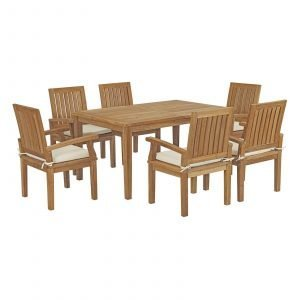 7 Piece Outdoor Patio Teak Outdoor Dining Set in Natural White EEI-3292