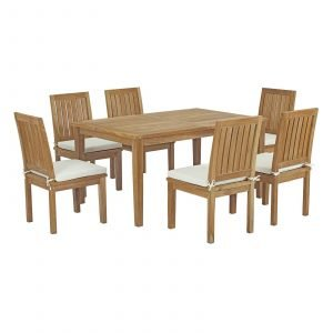 7 Piece Outdoor Patio Teak Outdoor Dining Set in Natural White EEI-3293