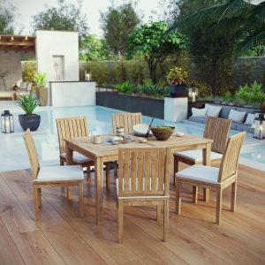 7 Piece Outdoor Patio Teak Outdoor Dining Set EEI-3293