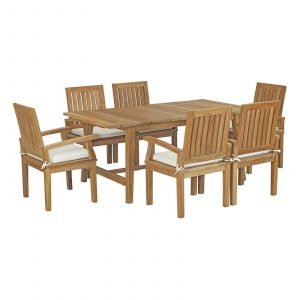 5 Piece Outdoor Patio Teak Outdoor Dining Set in Natural White EEI-3297