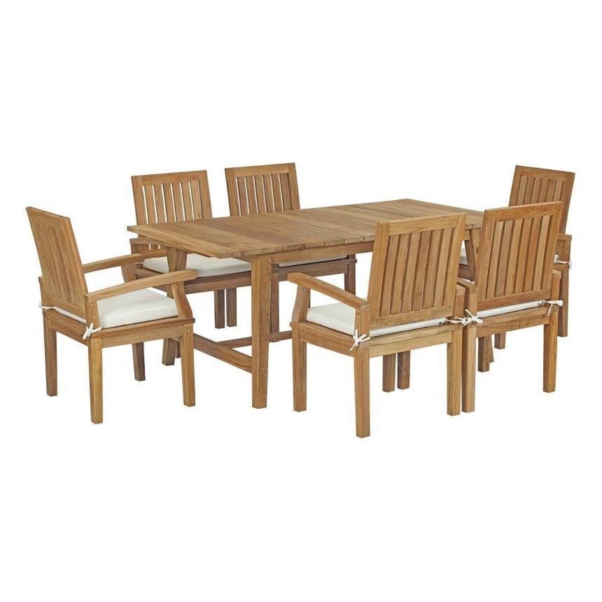 5 Piece Outdoor Patio Teak Outdoor Dining Set in Natural White EEI-3297