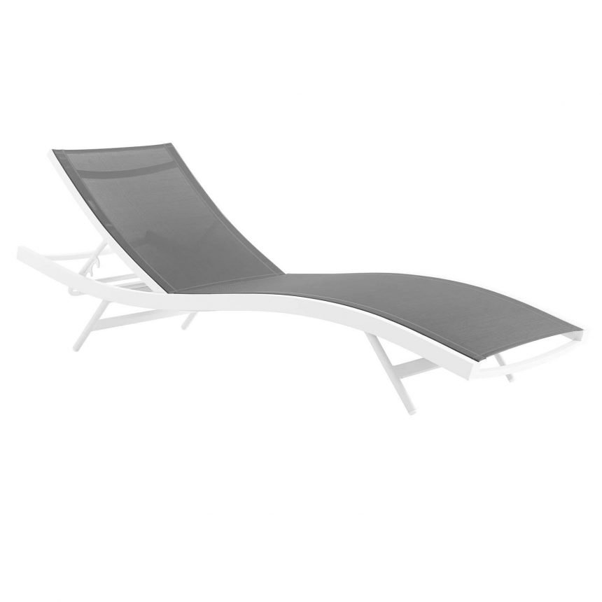 Outdoor Patio Mesh Chaise Lounge Chair in White Gray EEI-3300