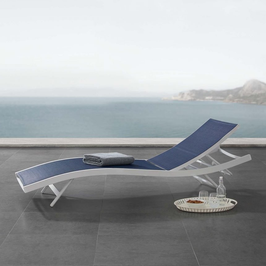 Outdoor Patio Mesh Chaise Lounge Chair in White Navy EEI-3300