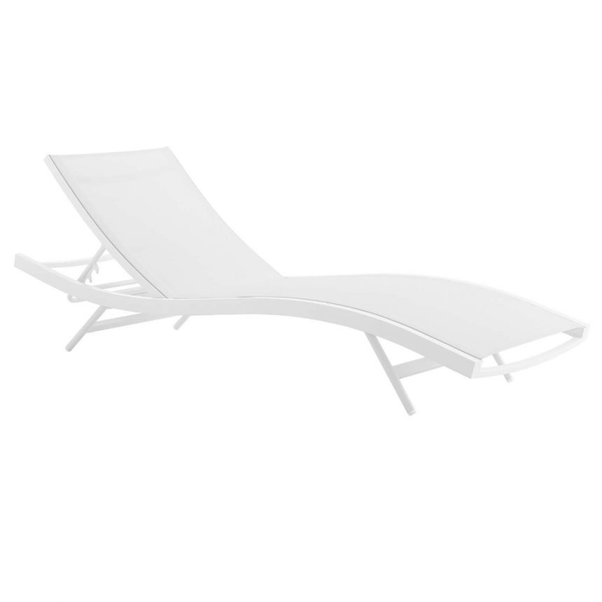 Outdoor Patio Mesh Chaise Lounge Chair in White White EEI-3300